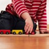 boy playing with wooden train