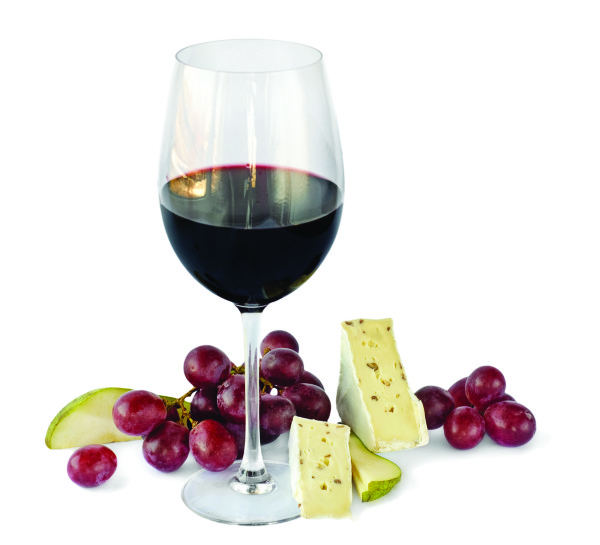 Red wine,grapes and cheese