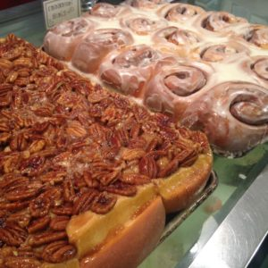 Baked goods beckon from the dessert case at Mae's Cafe.